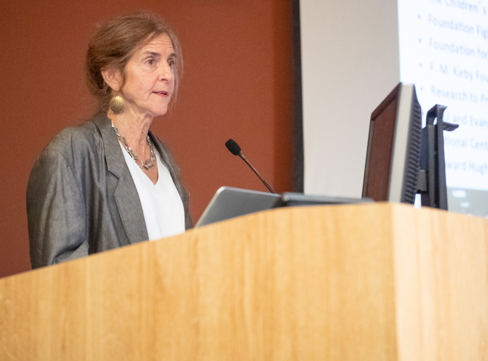 Jean Bennett, MD, PhD, presenting her lecture at the Marion Spencer Fay Award Ceremony