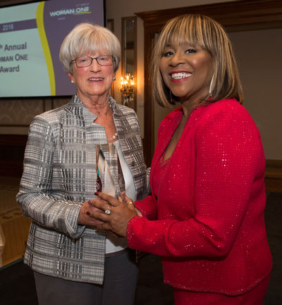 2016 Woman One honoree Renee Amoore and Lynn Yeakel, director, Institute for Women's Health and Leadership