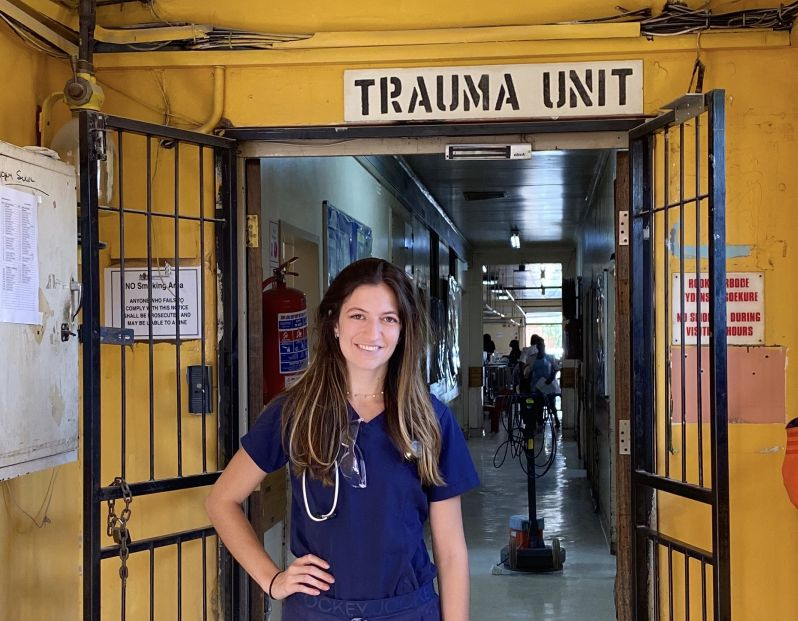Drexel MD student Rima Dilbarova during her global health experience in South Africa