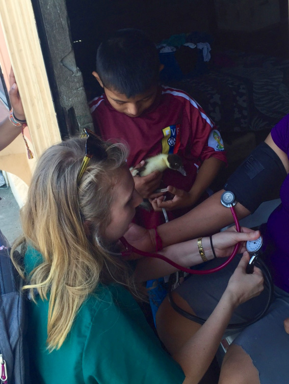 Drexel medical student Anya Golkowski in Ecuador with Child Family Health International Community Medicine.
