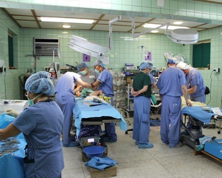 Drexel medical student Matthew Recker in Paro, Bhutan with Surgicorps - Operating Room.