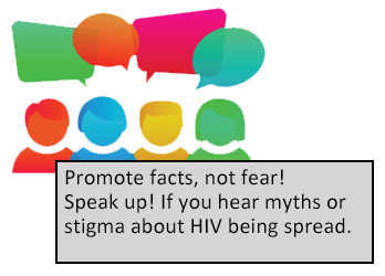 Promote facts, not fear! Speak up! If you hear myths or stigma about HIV being spread.