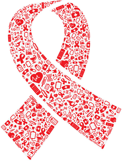 Red ribbon shape with medical icons.