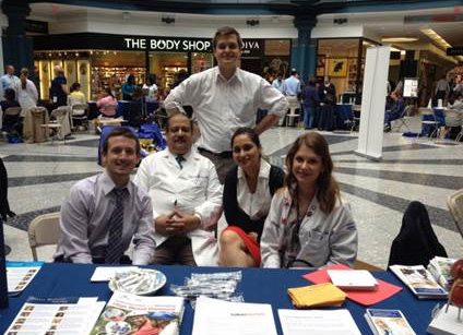 Drexel Medicine Health Fair at Liberty Place on September 28, 2016 - First year nephrology fellow Dr. Luke Kiljanek (standing); second year nephrology fellow Dr. Chris Kern, general nephrologist Dr. Ziauddin Ahmed, second year nephrology fellow Dr. Navneet Kaur and transplant nephrologist Dr. Lissa Levin-Mizrahi (seated left to right).
