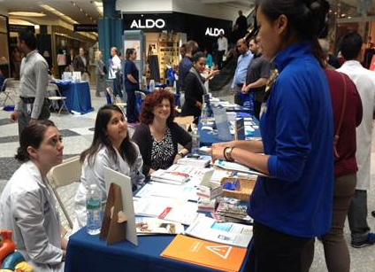 Endocrinology fellows Drs. Stacy Goldbaum and Monica Sood, with Dr. Renee Amori (seated left to right) at the Drexel Medicine Health Fair at Liberty Place on September 28, 2016.