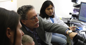 Itzhak Fischer, PhD, with graduate school students at Drexel University College of Medicine.