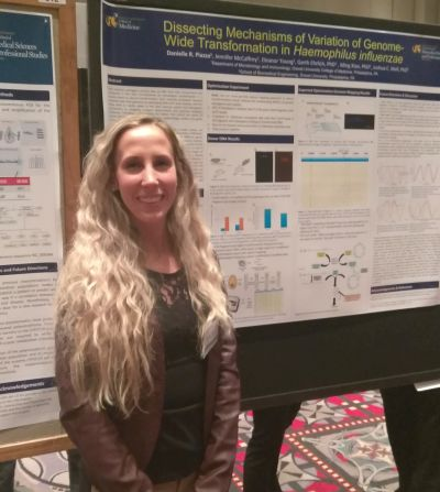 Danielle R. Piazza, PhD candidate in Molecular and Cell Biology and Genetics, presenting 'Dissecting Mechanisms of Variation of Genome Wide Transportation in Haemophilus influenzae,' 2018 Discovery Day