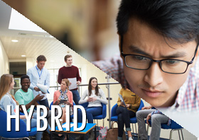 Students participating in an hybrid online course.