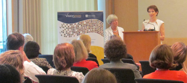 Lynn Yeakel and Dianne Semingson address the audience at a recent Vision 2020 event.
