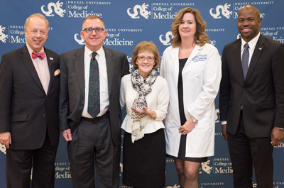 Dean Schidlow, Drs. Piper and Tuttle, Vice Dean Weber, and Provost Blake