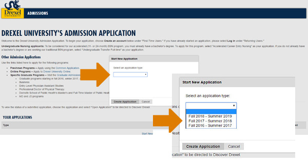 5. When the 'Start New Application' window appears, please select the term for which you are applying. If your program begins in the fall, please select the range Fall 2017 – Summer 2018.