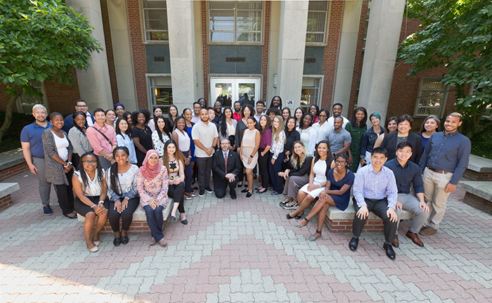 Group photo of all accepted students from the Drexel Pathway to Medical School New Student Orientation 2019
