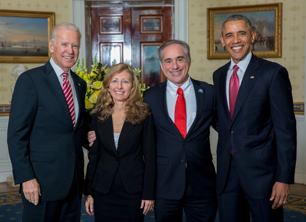 Vice President Biden, MCP alumni Merle Bari and David Shulkin, and President Obama