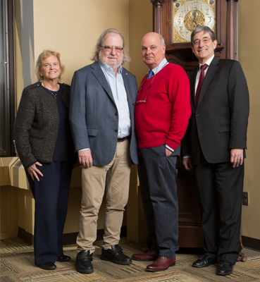 Pictured from left to right: Noreen Robertson, DMD (Associate Vice Dean for Research); Dr. James Allison (2018 Nobel Laureate and 2019 Benjamin Franklin Medal winner); Dr. Brad Jameson (Professor, Department of Biochemistry and Molecular Biology); and Kenny Simansky, PhD (Vice Dean for Research; Professor, Department of Pharmacology and Physiology)