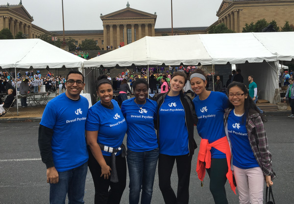 Dimal Shah, Mikal Hicks-Black, Abena Apraku, Katarzyna Liwski, Basant Nassar and Shelley Co at the 2016 Out of the Darkness suicide prevention walk