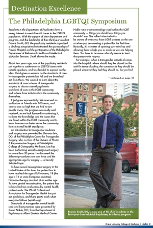 Francis Smith, DO, in the Fall 2016 issue of Pulse