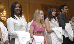Drexel University College of Medicine medical students recieve their white coats at the annual White Coat Ceremony.