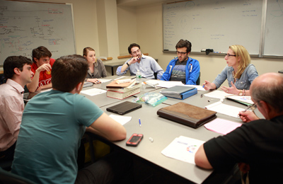 Drexel University College of Medicine Medical Science program graduate students participating in a group discussion.