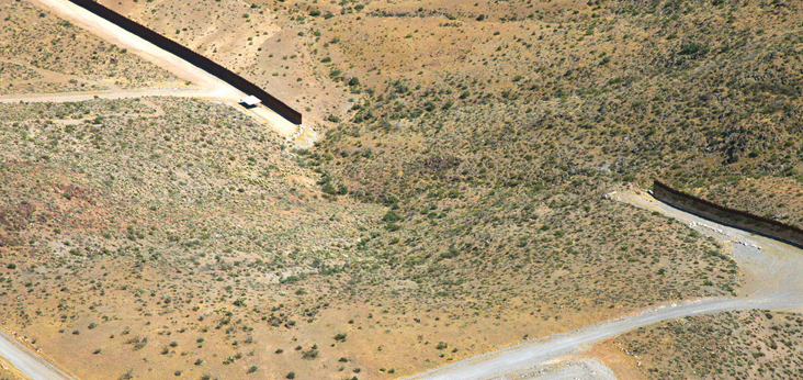 U.S. - Mexico border fence with gap