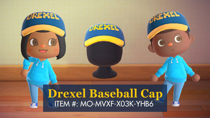 A blue and yellow Drexel ball cap.