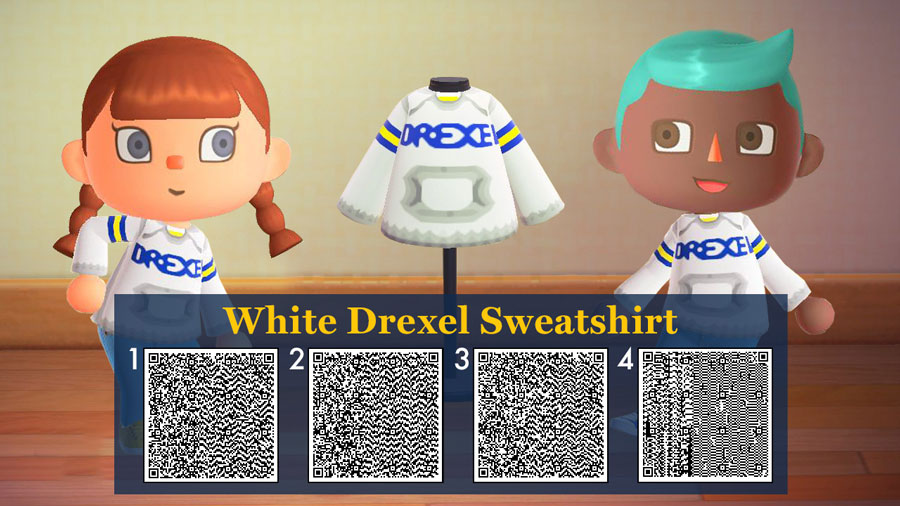 QR code for a white Drexel hoodie.