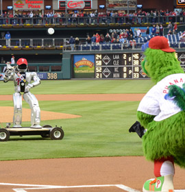 HUBO throws opening pitch 4-28-12