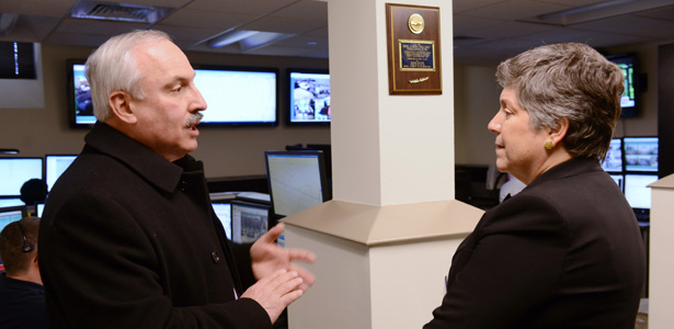Secretary of Homeland Security Janet Napolitano Tours Drexel's Communications Center