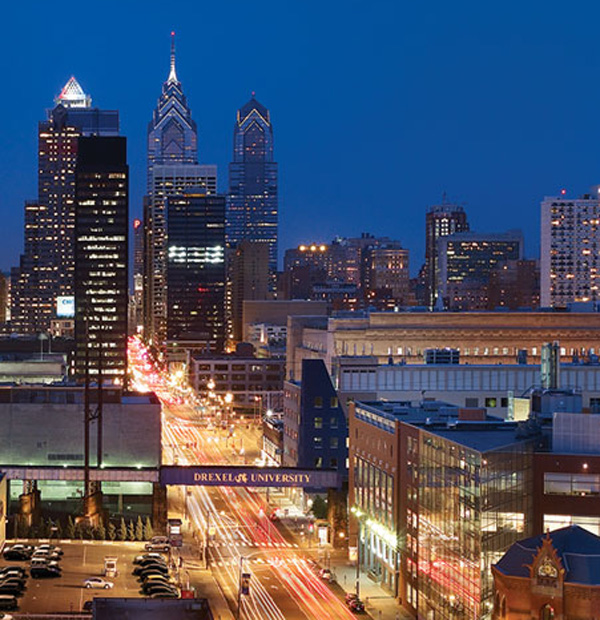 View of Market Street at Drexel's Campus