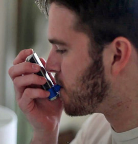 Cueto's redesigned inhaler is flat for easier storage and transport