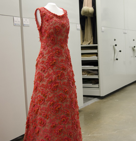 A coral-encrusted couture gown, worn by Grace Kelly in 1965, which is now in Drexel's collection.