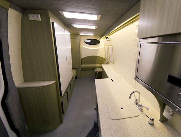 A view of the interior of Drexel's Mobile REACH, an optimal environment for behavioral assessments with facilities to support biological sampling and research