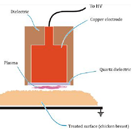 Schematic for application of DBD plasma to a surface (chicken breast). The robe is an electrode, and its surface is covered in a material that is an electric insulator (dielectric), which prevents current flow. The surface being exposed acts as the second electrode, and the plasma is bound between this dielectric surface and the surface being treated.