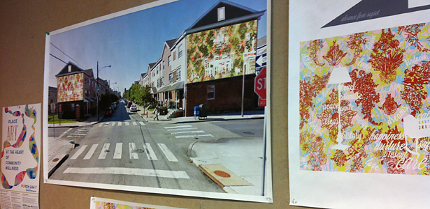 Mockups of the in-progress design for a mural near 11th Street Family Health Services