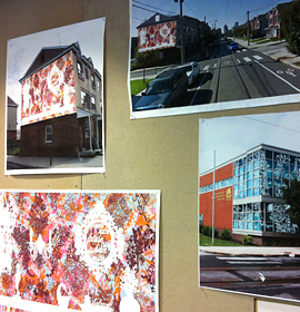 In-progress designs for public art on the exterior of 11th Street Family Health Services and nearby