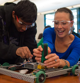 Students build robot