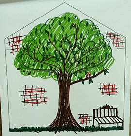 Artwork of the concept of home, by a participant in the Porch Light Initiative at 11th Street