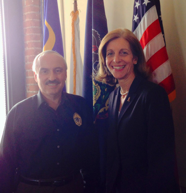 Vice President of Public Safety Domenic Ceccanecchio with Eileen Behr, director of Police Operations