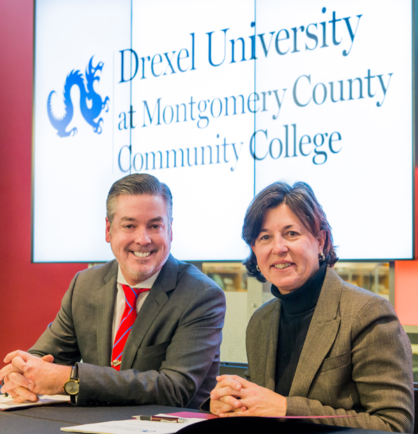 Drexel President John A. Fry with Montgomery County Community College President Karen A. Stout