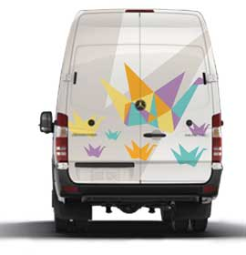 Exterior design concept of a mobile clinic inspired by paper cranes