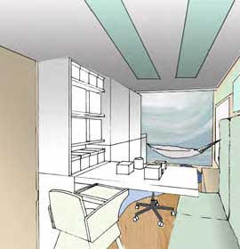 Design sketch for a comfortable interior for a mobile autism assessment unit
