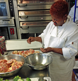 "Mantua resident Josephine ""Joe"" Samuel works on healthifying her family's fried chicken recipe"