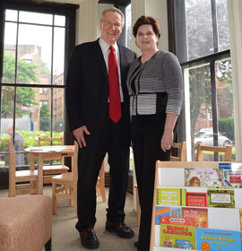 Dana and David Dornsife in a kid reading room at the Dornsife Center.