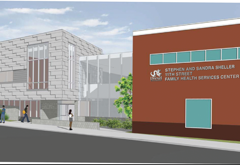 Rendering of the expanded Stephen and Sandra Sheller 11th Street Family Health Services Center (new wing on left)