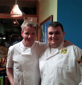 Chef Gordon Ramsay of Kitchen Nightmares and Drexel student Andrew Bohinick