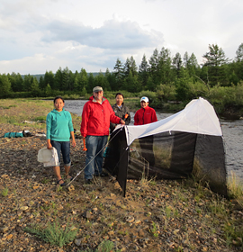 Dr. Jon Gelhaus with students collecting aquatic insects in Mongolia. Credit: Stephen C. Mason, Jr./ANSP