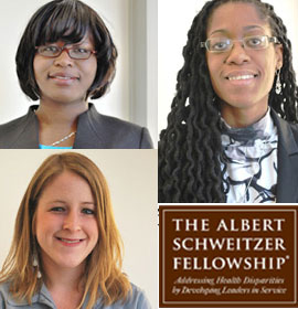 Three medical students selected as Schweitzer Fellows: Phoebe Dacha (upper left), Alicia Howard (right) and Ashley Stephens (lower left)