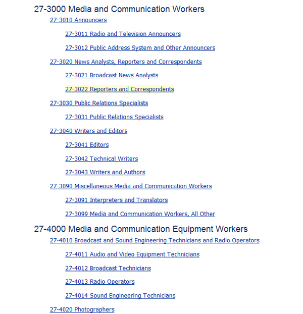 Screenshot from the Standard Occupational Classification, a federal standard method for systematically coding occupational data