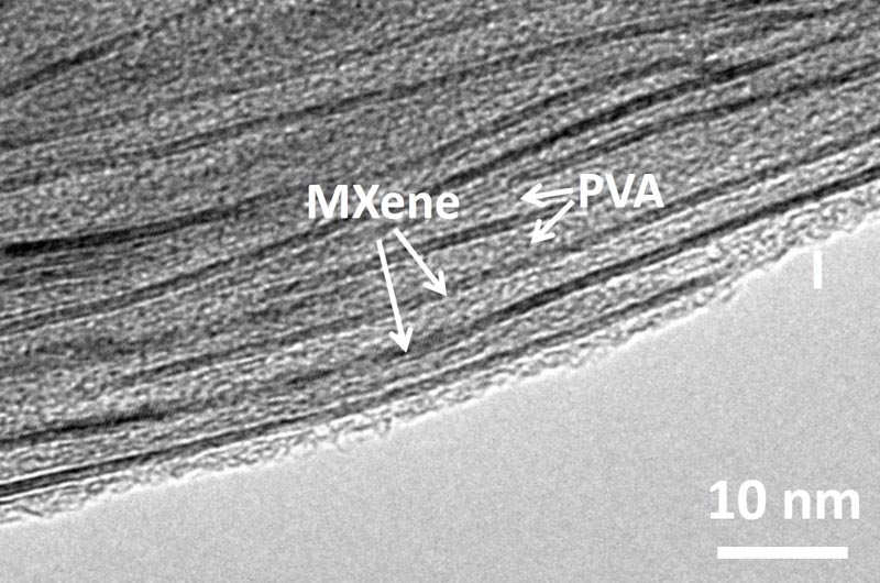 A scanning electron microscopic image of MXene-polymer nanocomposite shows the polyvinyl alcohol filling in the layers of MXene to give the material its unique properties.