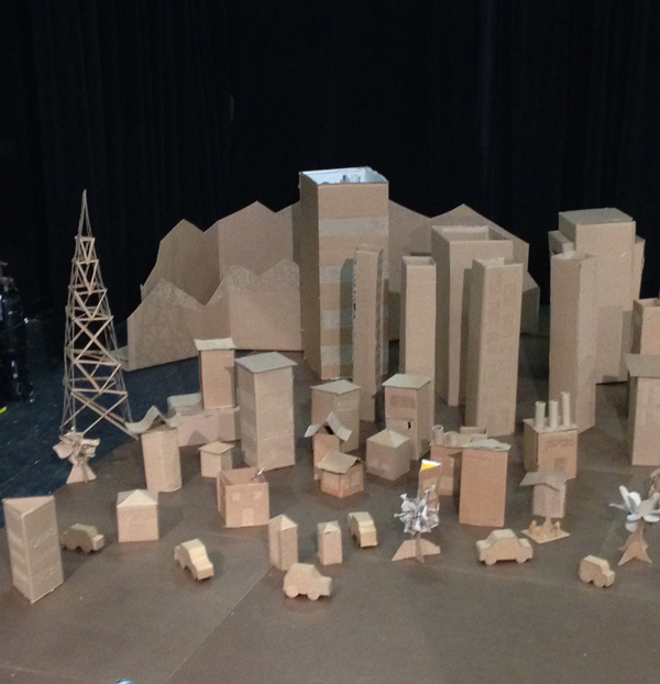 Students created the <i>Godzilla</i> set from cardboard