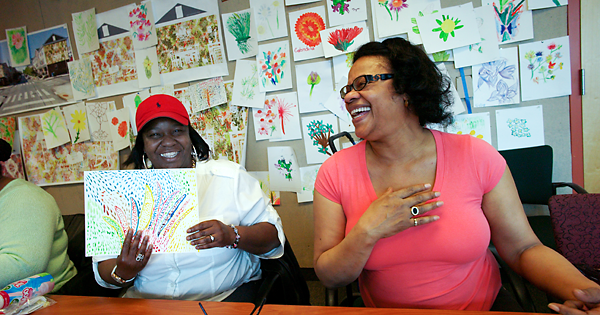 Participants in the Porch Light Program have spent the year creating art together at Drexel's 11th Street Family Health Services, finding fellowship and healing through art.